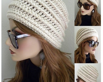 Winter Hat, White Cloche Hat, Honey Comb Design, Bohemian Chic, Crocheted Hat , White Beanie,  Women's Hat, Winter Accessories