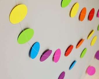 Rainbow Confetti Paper Garland - 20ft (6m) Length