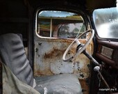 Rustic Front Seat of Classic Vintage Car Full of History