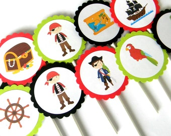 12 Pirate Cupcake Toppers, Pirate Birthday, First Birthday, Pirate Theme, Pirates, Pirate Party, Pirate Boat, Baby Shower, Parrot