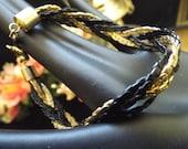retro, 80s, braided, gold plated bracelet