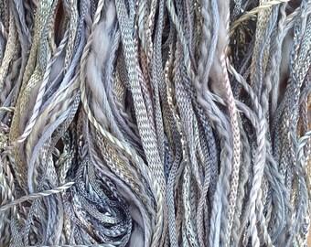 Embroidery Thread Selection, Hand Dyed Cotton Thread, Viscose Thread, Embellishment Yarn, Artisan Thread, One Off, Colour 56 Pebble