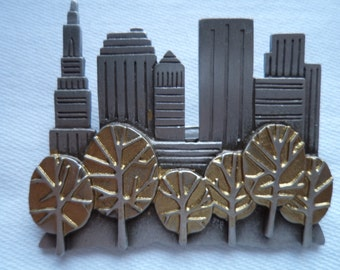 Vintage Signed JJ Silver pewter New York Skyline with Trees Brooch/Pin