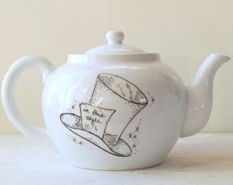 Mad Hatter themed Alice in Wonderland Tea Pot