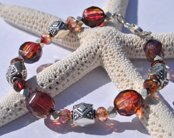 Sangria Red Czech glass bracelet with Bali sterling silver beads