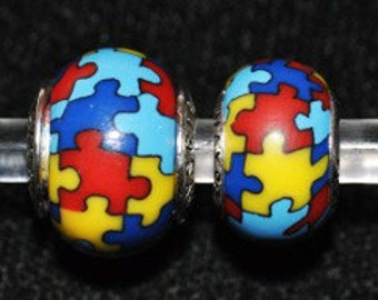 Autism Awareness Jewelry Bead Charm for all European Charm Bracelets handcrafted MAYselect by May Tagher, MAYcreations