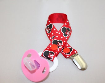 Red Minnie Mouse Pacifier Clip