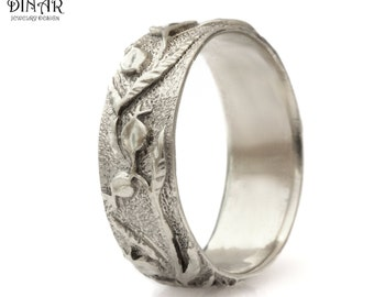 14k white Gold wedding band , woodland wedding ring , Pomegranate Texture ring, solid gold band, women's gold band, engraved vine leaf DINAR