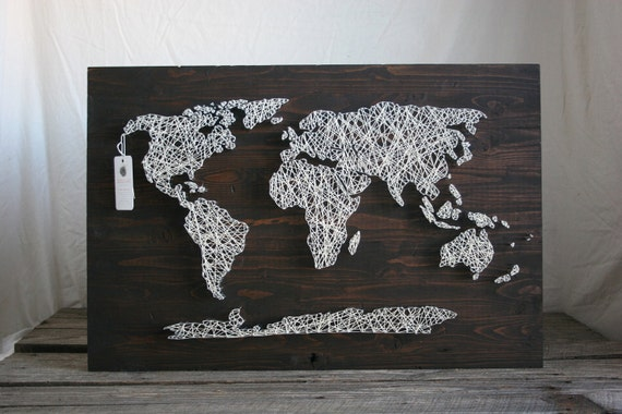 "World Map String Art String Art 30""x18 World Map"
