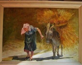 Auntie With Donkey     Original painting -  (Oil on board)