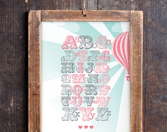 Vintage Hot Air Balloon Alphabet Print for a Baby Girl's Nursery - Instant Download Wall Art - Print at Home