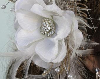 Bridal Flower Hair Clip  Wedding Hair Clip  Wedding Accessory Veil Brooch Crystals