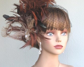 Brown Bridal Feather Fascinator Kentucky Derby Head Piece Vail Wedding Accessory Feathers Crystals