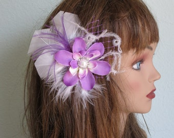 SALE Lily Wedding Accessory Purple Hair Clip Bridal accessory Hair Flower Clip Pearl Feathers
