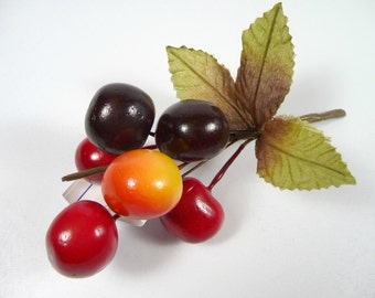 Ripening Millinery Cherries Lacquered Fruit Decoration for Hats Crafts Large Red Yellow Black