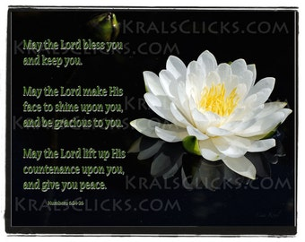 Lotus Photograph Numbers 6 24 26 White Water Lily Fine Digital Art Photography, Blessings, Wall Art, Home Office Wall Decor Religious Gift