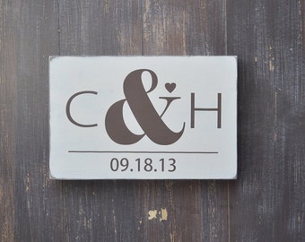 Bridal Shower Gift, Wedding Gift, Anniversary gift, Custom Wedding Sign, Engagement Gift, Monogram