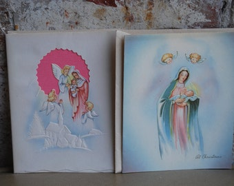 Vintage Christmas Greeting Cards, Nativity, Marchant