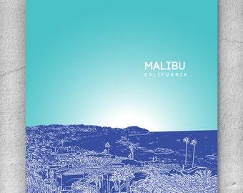 Malibu California Cityscape Skyline / Honeymoon destination / Office Art Poster Décor - Any city available