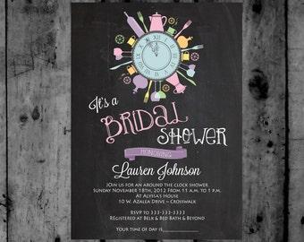 Vintage Around the Clock Bridal Shower Printable Invitation