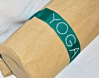 Yoga bag - beige with green stripe