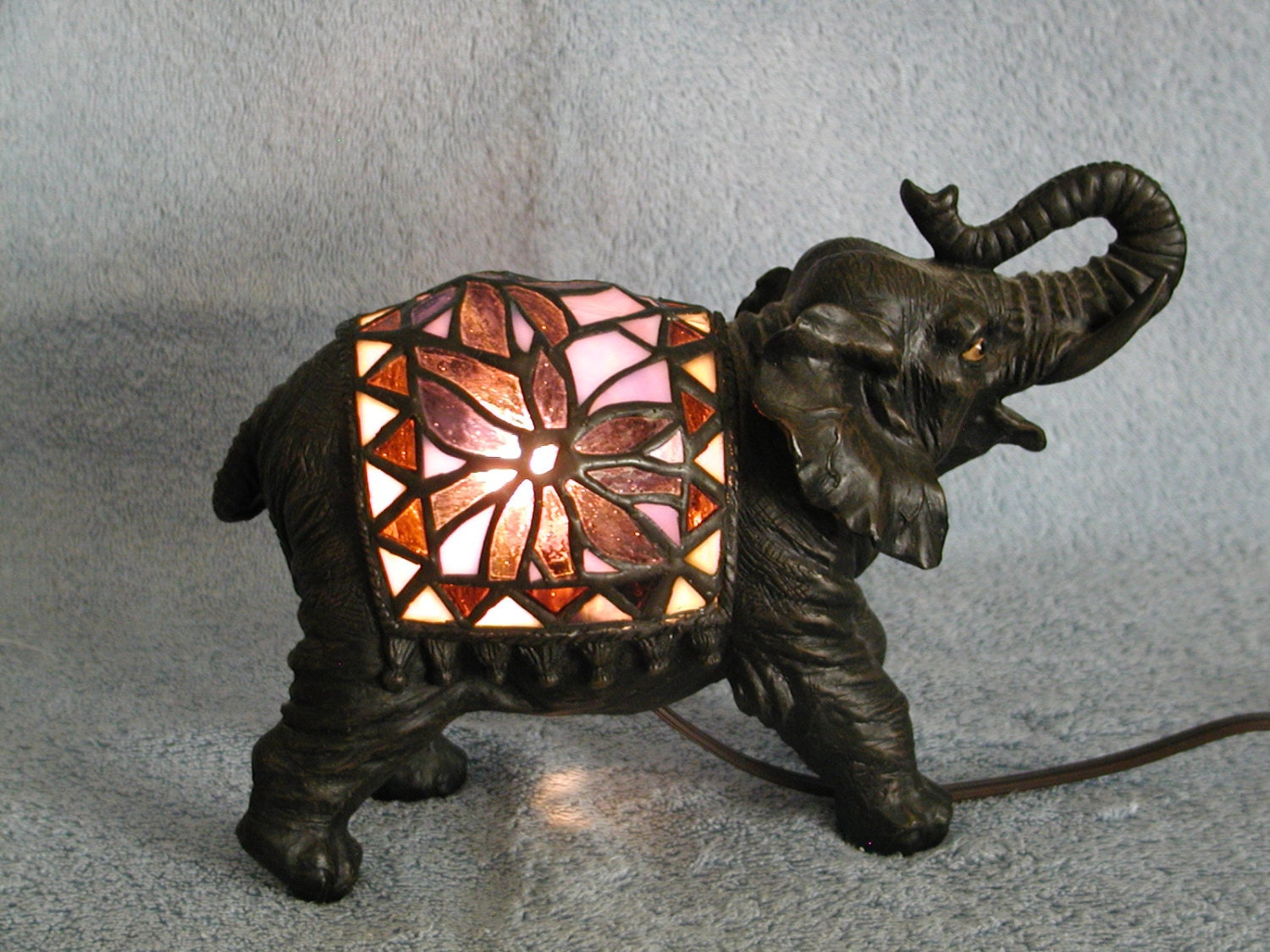 Stained Glass Lamp Elephant