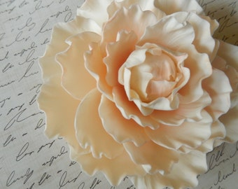 Pink/Peach Sugar Peony Wedding Cake Topper