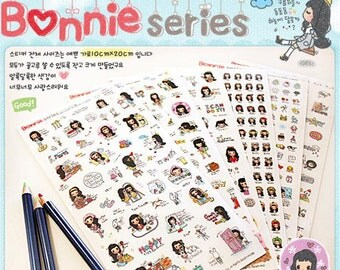 Korean Sticker - Diary Sticker - Deco Sticker - Bonnie Sticker Set - 6 sheets PVC sticker