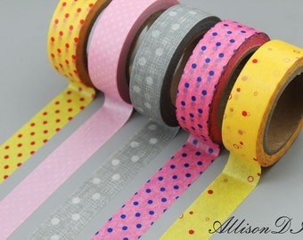 Washi Tape - Masking Tape - Japanese Washi - Deco Tape - Gift Wrap - Filofax - MTS052- 5 roll