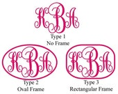 "9"" Cursive Monogram Vinyl Sticker - 3 Styles and 30 Colors to choose from"
