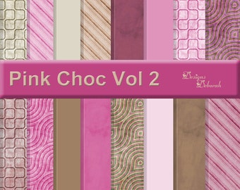 Pink Choc Vol 2 - 16 Digital Scrapbook Papers - 12x12 inch Printable Backgrounds - INSTANT DOWNLOAD