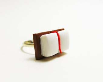 miniature open book ring polymer clay