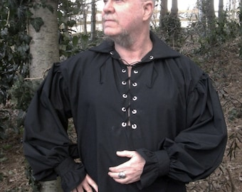 Men's Renaissance Black Pirate Poet Shirt