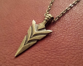 Long Arrowhead Necklace - Arrow Necklace - Bronze Necklace - Native American Necklace - Tribal Necklace - Large Arrowhead - Boho Necklace