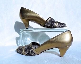 BRONZE High Heel Pumps/Vintage Pumps/Metallic Bronze Metallic Pumps/Black Mesh Pumps/60s Peep Toe/VERSANI/60s Vintage High Heels/Size 9 AA