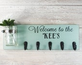 Welcome To The Personalized Name Sign With 5 Hooks - French Chic- Shabby- Country Decor