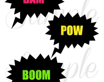 INSTANT Downlad Super HERO Photo Booth Props PRINTABLE Download - Iron on Transfer, Craft, Decoration, Party diy