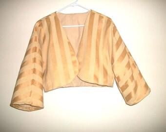 Women's Jacket Bolero Yellow Top Size Medium Handmade By FabricDivalady
