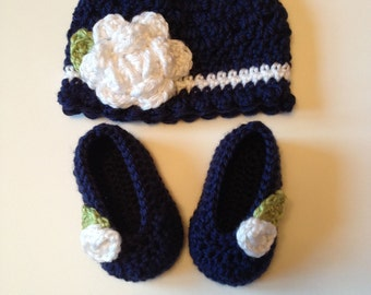 Crochet Baby Hat and Booties Set, 0-3 Months