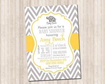 Custom chevron baby shower elephant invitation-  yellow & gray