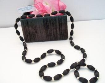 Vintage Black Satin Bead Necklace Satin Wrapped Costume Jewelry