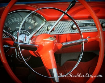 Behind the BelAir  Wheel - Rustic Wall Art - Classic Car Art Prints - Retro Print - Vintage Car Photography - Garage Art - Red - 8x10