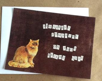 Sincerest Sympathy on your Recent Loss Pet Sympathy Single Card cat