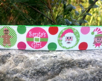 Santa's Girl 1 Inch Width Dog Collar