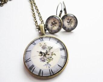 Set jewelry Clock Romantic Glass
