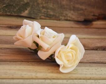 Wedding  Flower Hair Combs,  Wedding Hair Accessories,  Ivory Rose  Flower, Bridal Flower  Hair Combs, Hair Flower, Bridal Hair Accessories