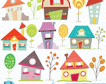 House clipart commercial use, vector graphics, digital clip art, digital images - CL397