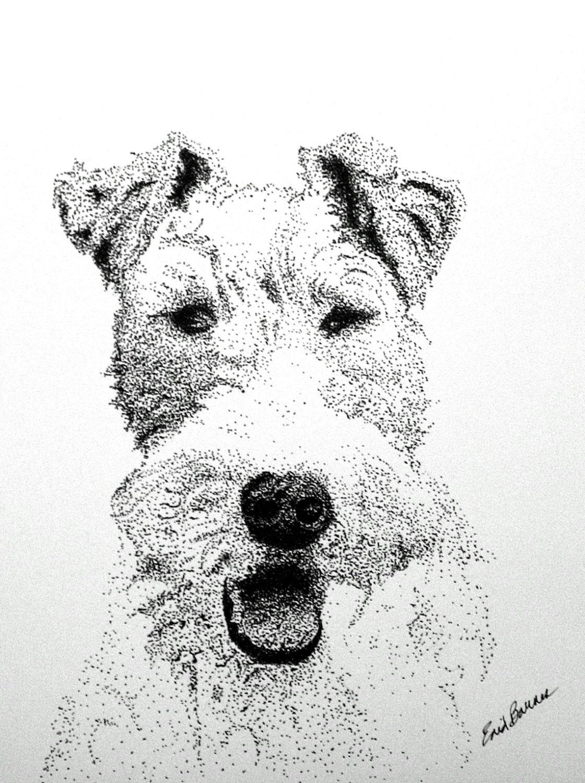 Sofort-Download Wire Haired Fox Terrier Pointillismus