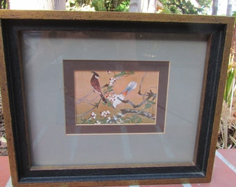 Asian Framed Art Print Birds in Tree