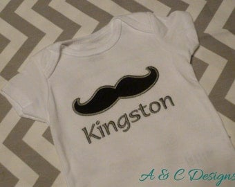 Mustach onesie (Gerber) or bodysuit (Carter's) with Personalized Name